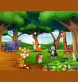 animals cartoon are enjoying nature in the jungle vector image vector image