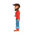 bearded hipster man with camera cartoon character