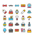 beauty and fashion colored icons set 3 vector image vector image