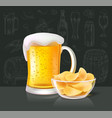 beer alcoholic drink in glass with crisps vector image vector image