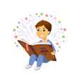 boy reading - cartoon people character isolated vector image vector image