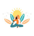 businesswoman meditation concept vector image vector image