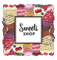 candy shop banner with pies cupcakes and cookies vector image vector image