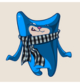 cartoon funny blue cat wearing a scarf vector image vector image