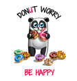 cartoon panda with donuts vector image vector image