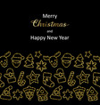 christmas and new year greeting card with gold vector image vector image