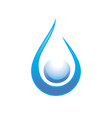clean water drop swoosh symbol design vector image
