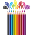 colored pencils and bubbles vector image vector image