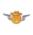 cowboy orange fruit cartoon character vector image vector image