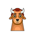 cute bull face cartoon style on white background vector image