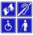 Disabled signs deaf blind mute and wheelchair vector image vector image