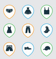 dress icons set collection of trunks cloth half vector image vector image