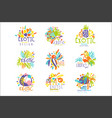 exotic tropical summer vacation set logo vector image