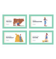 farmer characters working on farm landing page vector image