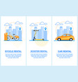 flat banner set bycicle scooter car rental vector image