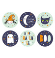 funny hand drawn halloween candy bar tags vector image