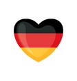 german flag icon in form heart isolated on vector image