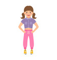 girl in pink pants vector image