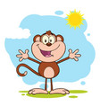 happy welcoming monkey cartoon character vector image vector image