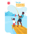 invitation banner time for fishing lettering vector image