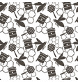 little bee ornament seamless doodle pattern brown
