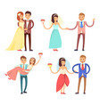 newlyweds celebration set vector image
