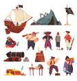 pirate cartoon icon set vector image