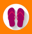 purple beach sandals or slippers icon with long vector image vector image