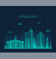 raleigh skyline north carolina usa linear vector image vector image