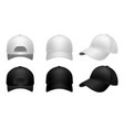 realistic baseball cap black and white mockup vector image vector image