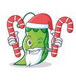 samnta with candy peas mascot cartoon style vector image vector image