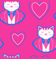 seamless pattern with happy cat and hearts vector image
