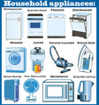 set household appliances with refrigerator vector image vector image
