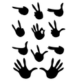 set of gestures silhouette vector image vector image