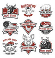 set of meat store fresh meat labels quality vector image vector image