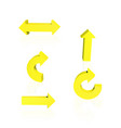set of yellow arrows vector image