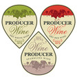 set wine labels in shape a drop vector image
