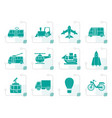 stylized travel and transportation icons vector image vector image