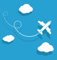 the plane is flying among clouds vector image vector image