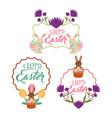 vintage frame floral decoration rabbits basket vector image vector image