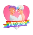 Wedding lesbian couple image with text vector image