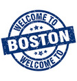 welcome to boston blue stamp vector image vector image