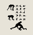 Wrestlers fighting Silhouettes vector image vector image