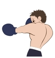Young boxer in dark shorts trained on white vector image vector image