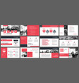 red presentation templates and infographics vector image