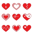 Hearts icons set in flat style vector image