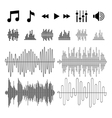 Equalizer music sound waves icons vector image