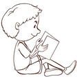 A plain sketch of a boy studying vector image vector image