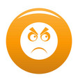 angry smile icon orange vector image