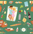 barbecue resting picnic couple and seamless vector image vector image